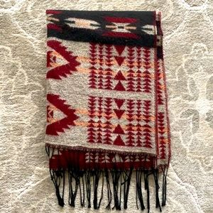 Urban Planet Wool Red and Grey Blanket Scarf